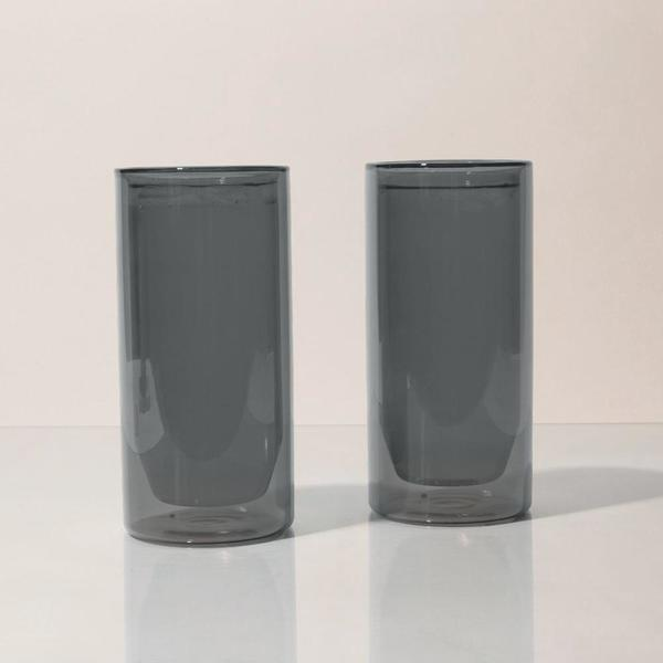 Yield Double Wall 16oz Glasses - Gray