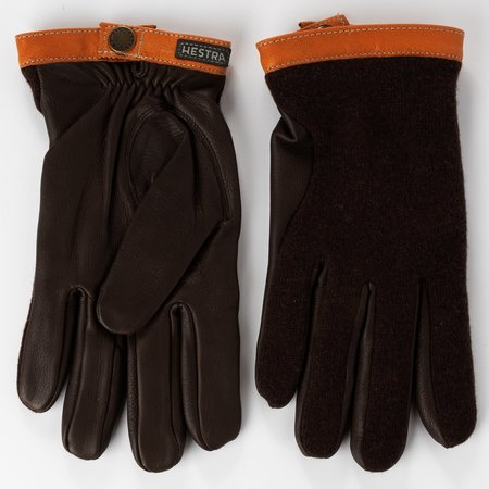 Hestra Gloves Deerskin Wool Tricot Gloves - Espresso/Dark Brown