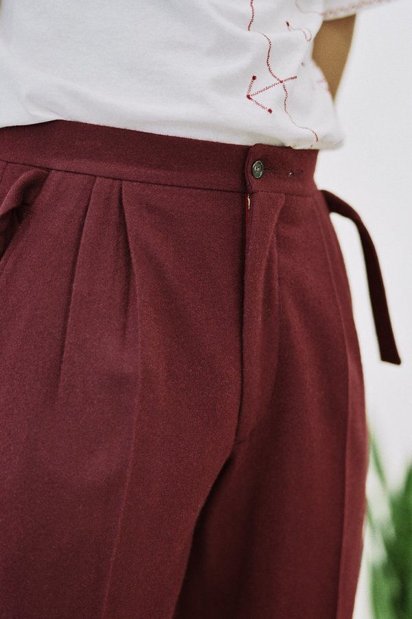 BODE Wool Pleated Side-Tie Trouser - Burgundy