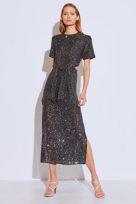 Cameo Lustre Midi Dress - Black Sequin