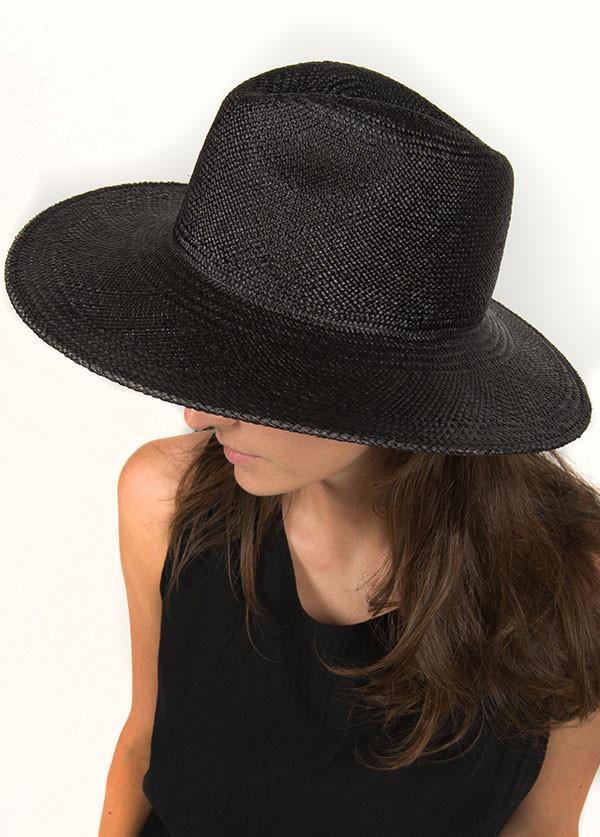 0337b60f2 Janessa Leone - Rita Black Panama Hat