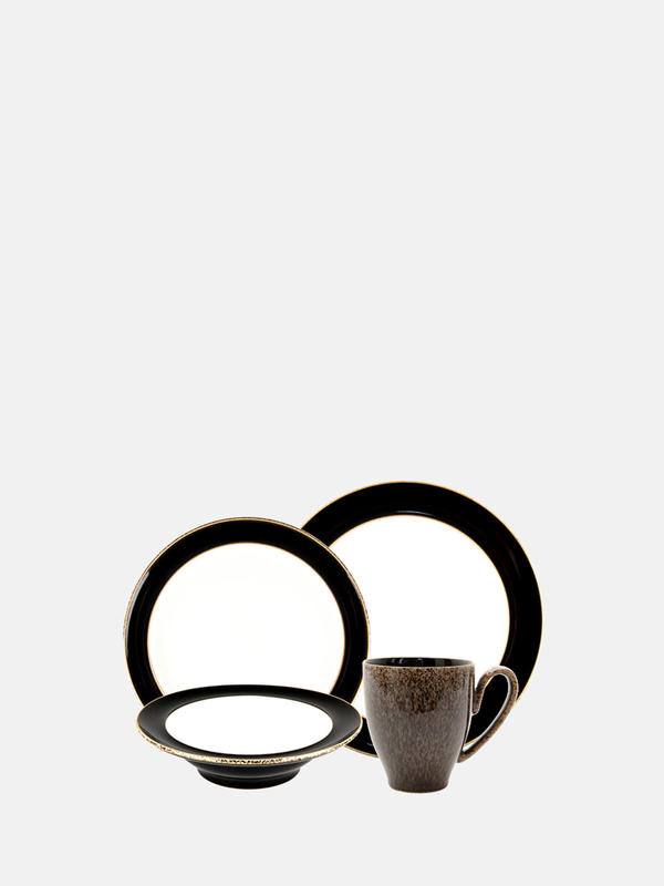 Brown Denby Praline Noir 4-Piece Place Setting
