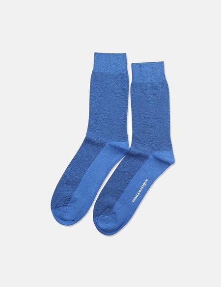 Democratique Originals Champagne Pique Socks - Adams Blue