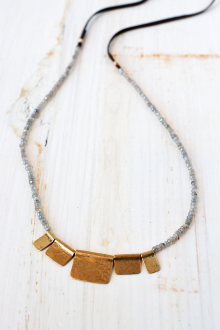 CLP Jewelry Labradorite and Brass Tabs Necklace