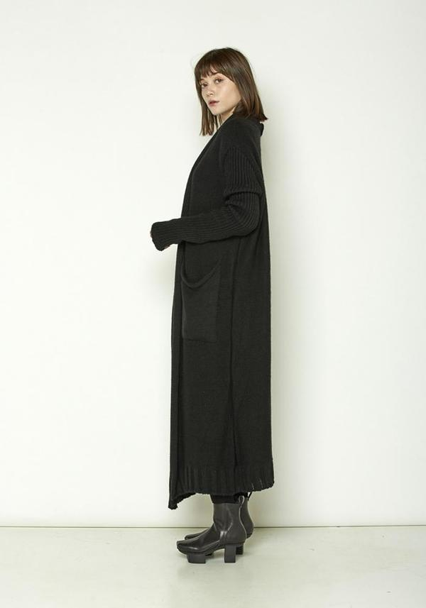 La Haine Long Pocket Knit Cardigan - black