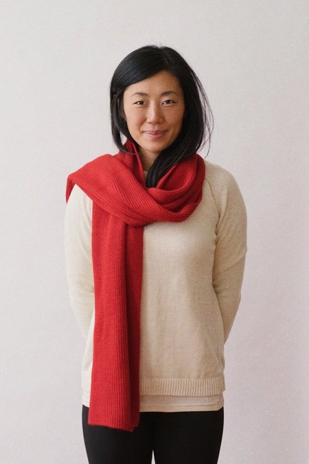 Echoview Fiber Mill Ribbed Alpaca Scarf - Red