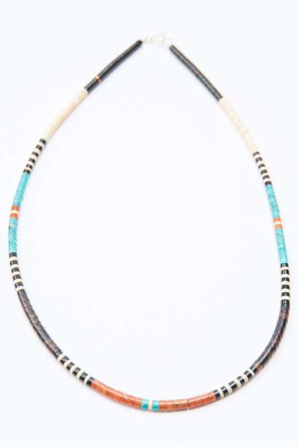 Gerard & Mary Calabaza Heishi Necklace - Sterling Silver/Multicolor