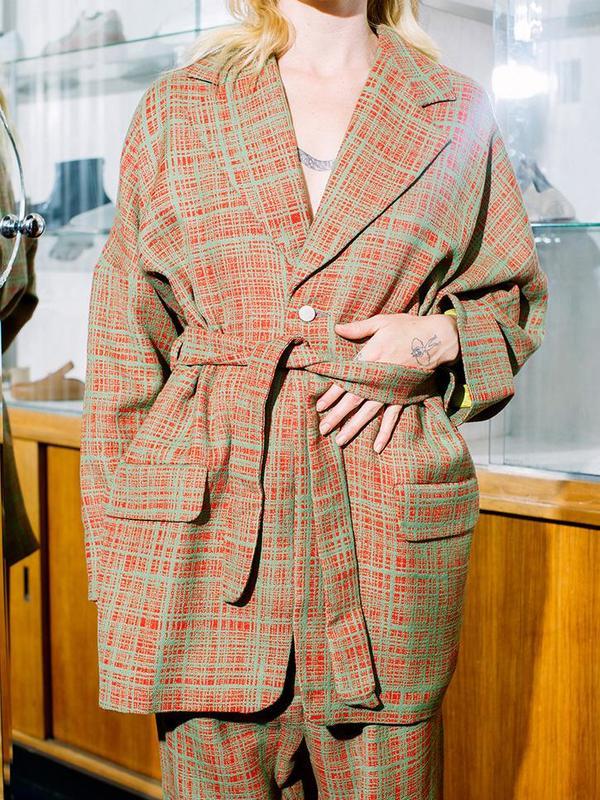 Unisex Anntian Jacket Binder - Red/Green Weave