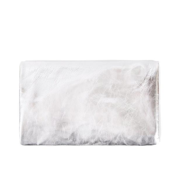 Clare V. Leather Foldover Clutch - Silver Metallic