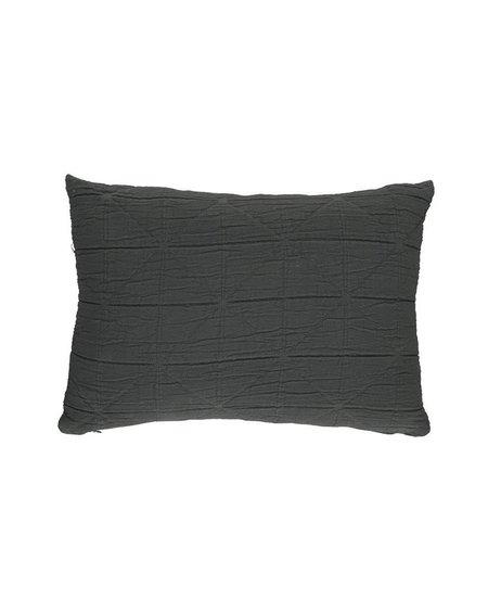 Camomile London Diamond Cushion Cover - Charcoal