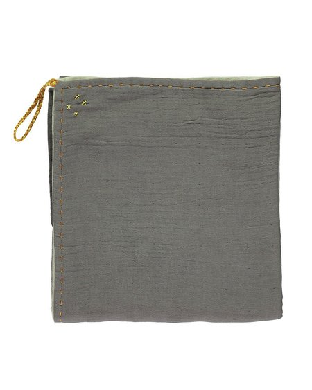 Kids Camomile London Double Layer Reversible Swaddle/Blanket - Slate/Mint