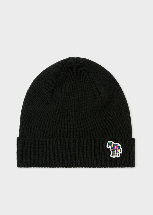 Paul Smith Zebra Ribbed Lambswool Beanie - Black