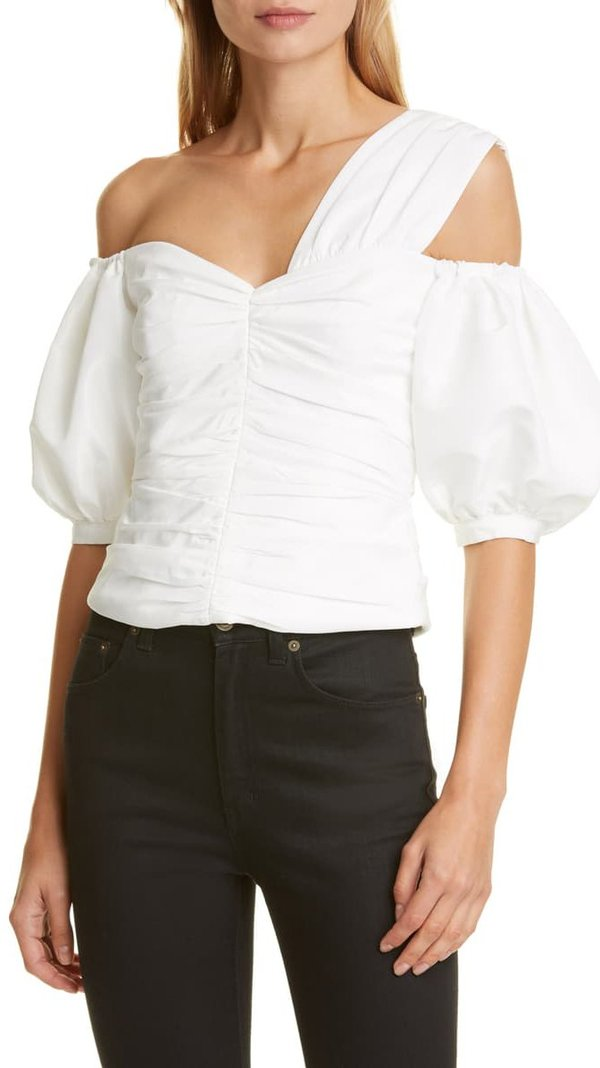 Self-Portrait Off the Shoulder Ruched Taffeta Top - Ivory