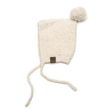 Kids Petit Kolibri Baby Alpaca Vintage Pompom Hat - Beige