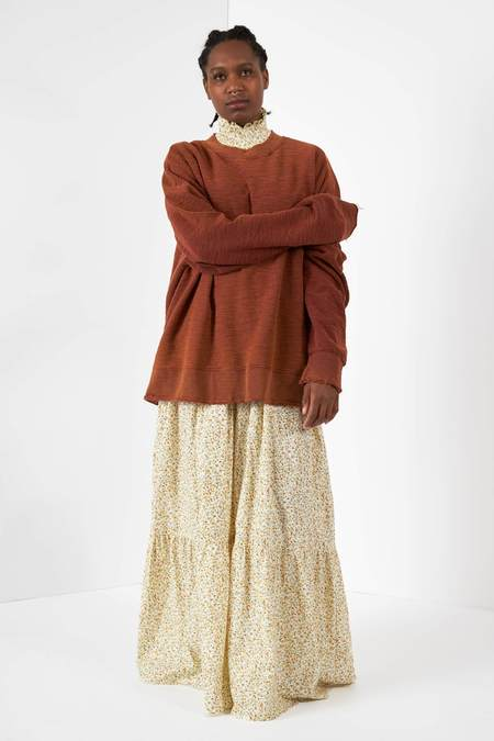 Anglan Salt Over Sleeve Crewneck Knit Top - Rust