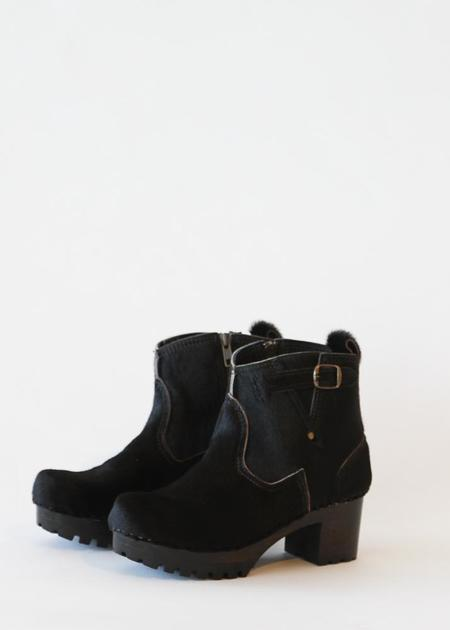 """No.6 5"""" Leather Buckle Clog Boot on Mid Heel - Black Pony"""