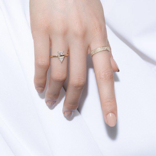 Shahla Karimi Landmark Series Flatiron Ring No 2 - 14k Yellow Gold