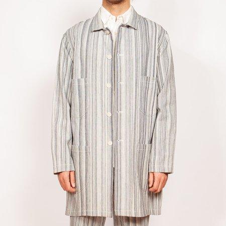 Krammer & Stoudt Chore Coat - White / Blue Mini Pinstripe