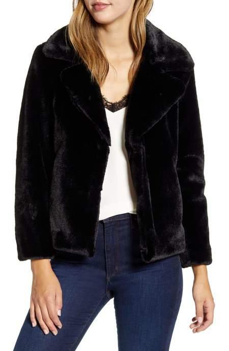 1state Faux Mink Jacket - Black
