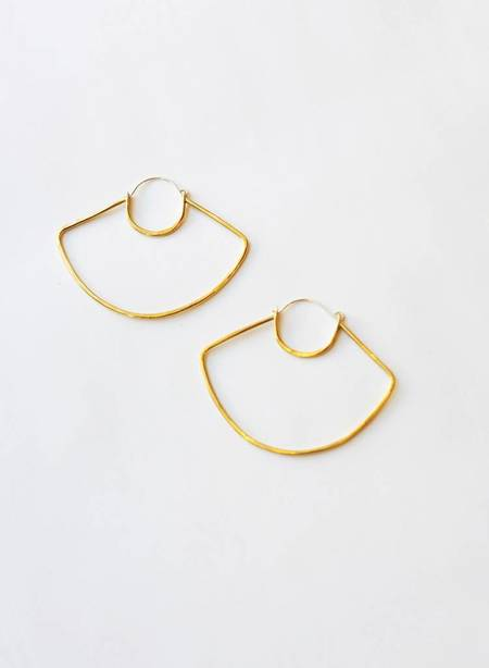Knuckle Kiss UFO Hoop Earrings - Brass