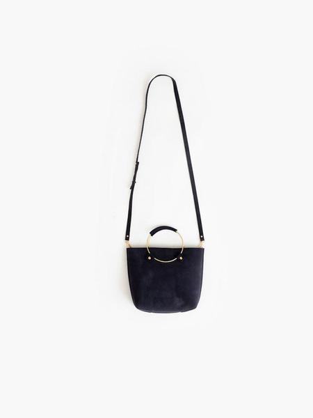 Tribe Alive Luxe Brass Handle Handbag - Indigo Suede