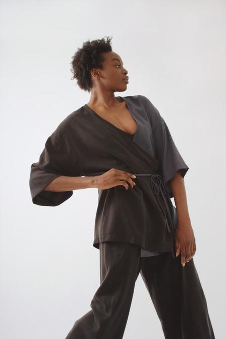 Soft Focus Mini Wrap Robe - After Midnight
