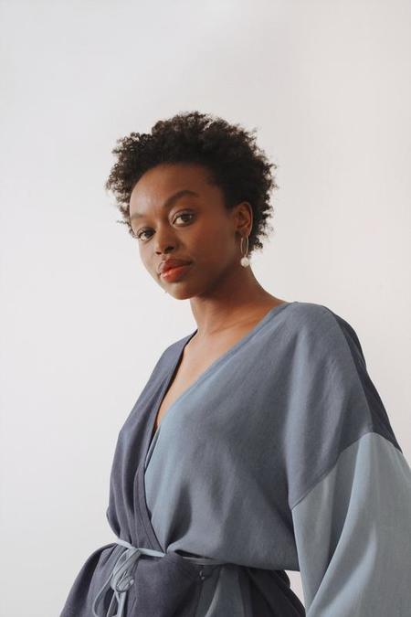 Soft Focus Mini Wrap Robe - Ultra Denim