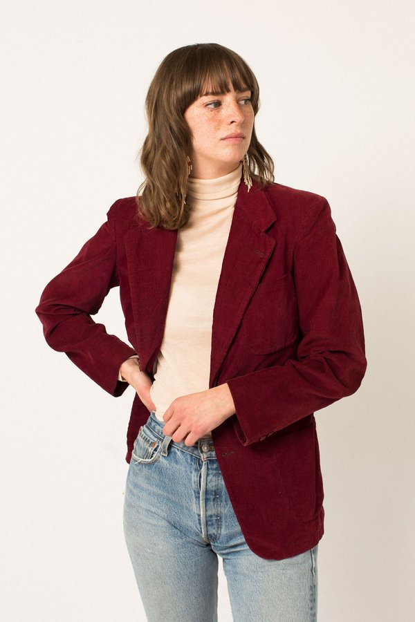 Preservation Vintage Corduroy Blazer - Berry Red