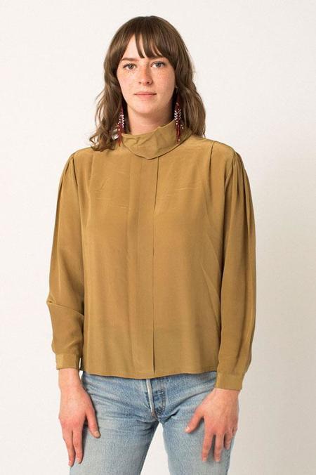 Vintage Preservation Silk Blouse - Taupe