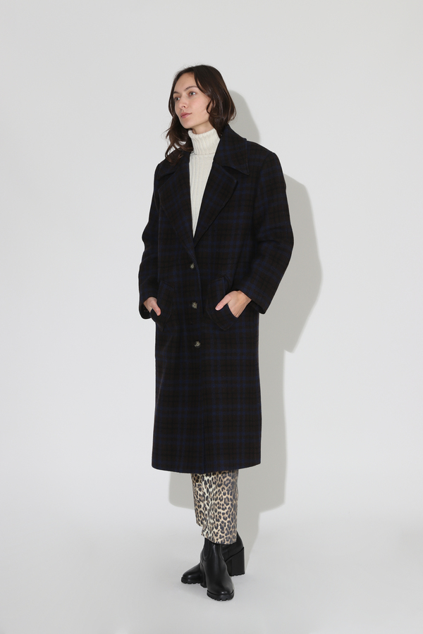 No.6 Edgar Coat - Espresso/Navy Plaid