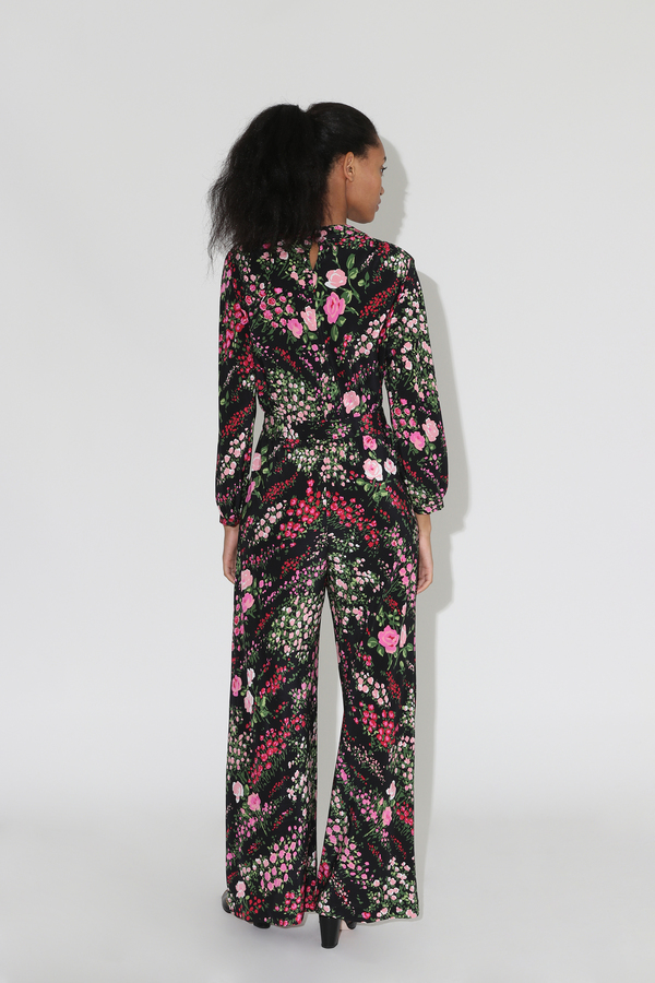 No.6 August Wrap Jumpsuit - Black English Garden