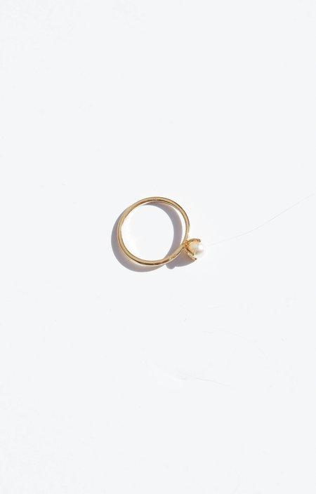 Bing Bang NYC Minimal Pearl Ring - Silver