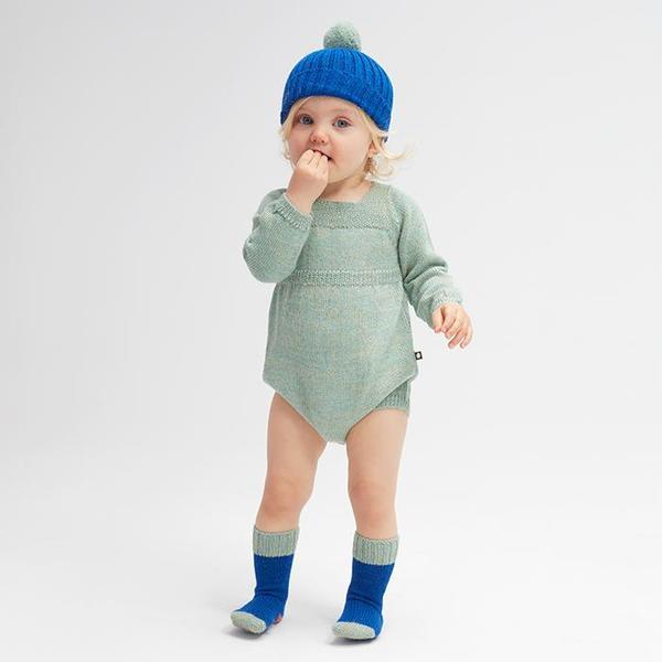 Kids Oeuf NYC Pom Pom Hat - Electric Blue/Ocean Green
