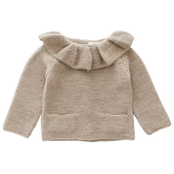 Kids Oeuf NYC Ruffle Neck Sweater - Grey