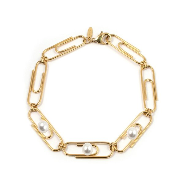 Joomi Lim Giant Paperclip Necklace with Pearls - Gold/White