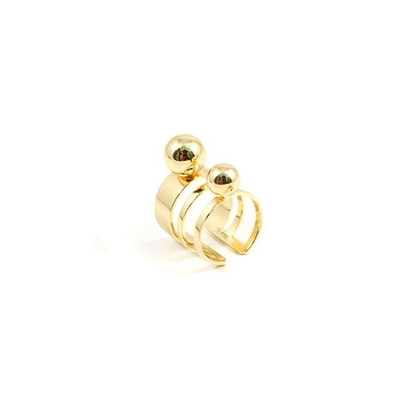 Joomi Lim Triple Band Ring with Spheres - Gold