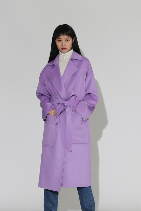 Nanushka Alamo Oversized Robe Coat - Lilac