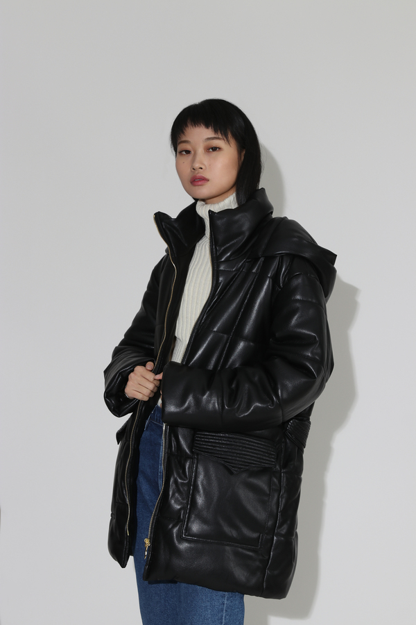 Nanushka Lenox Quilt Detail Puffer Coat - Black