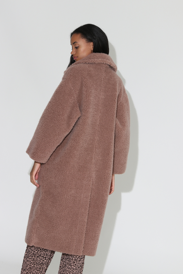 Nanushka Imogen Faux Fur Maxi Coat - Faded Rose
