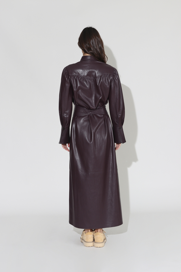 Nanushka Rosana Vegan Leather Quilt Detail Dress - Aubergine