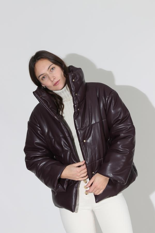 Nanushka Hide Puffer Jacket - Aubergine