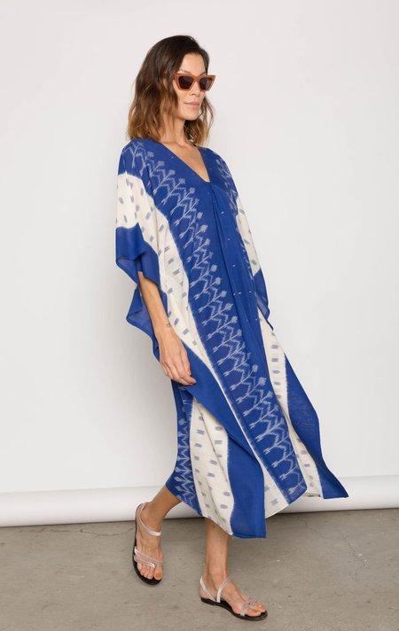 Two ikat caftan - Mediterranean blue/White