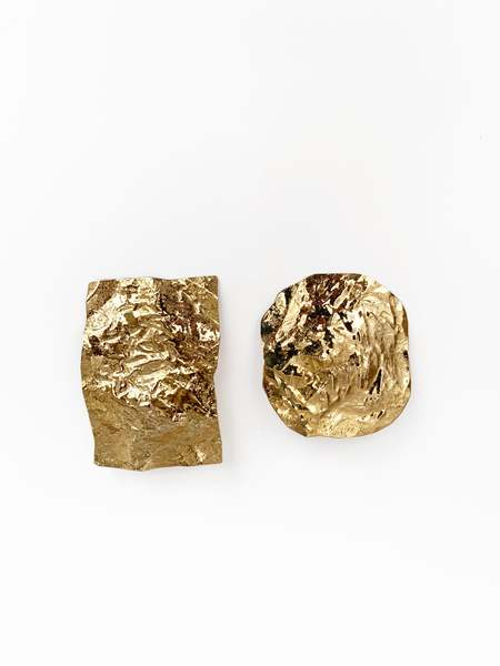Julie Thevenot LARGE CALANC EARRINGS - brass