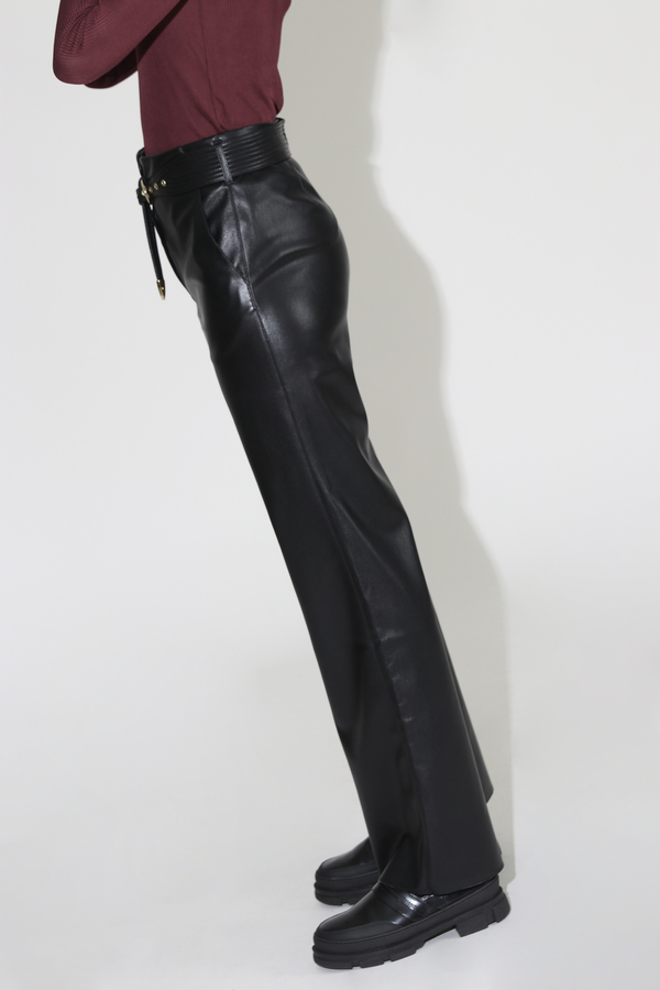 Nanushka Kisa Vegan Leather Maxi Pants - Black