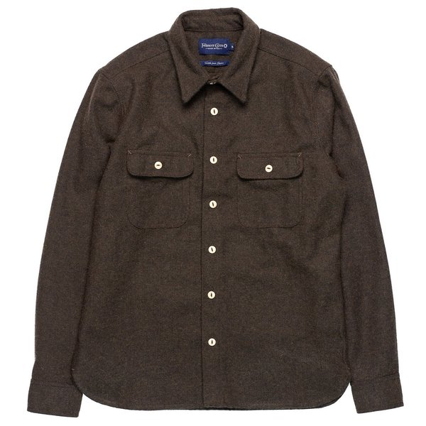 Freenote Cloth Benson shirt - Olive Night Herringbone
