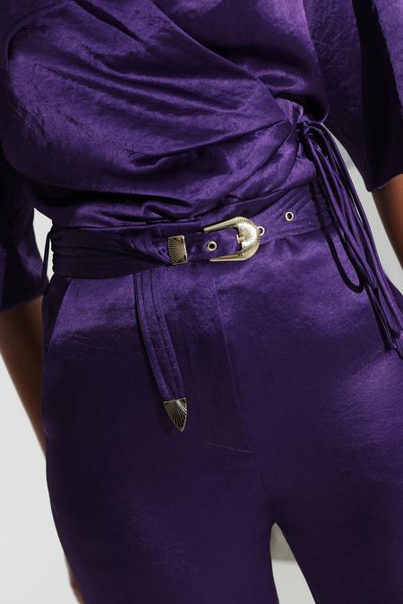 Nanushka Kisa Satin Maxi Pants - Purple