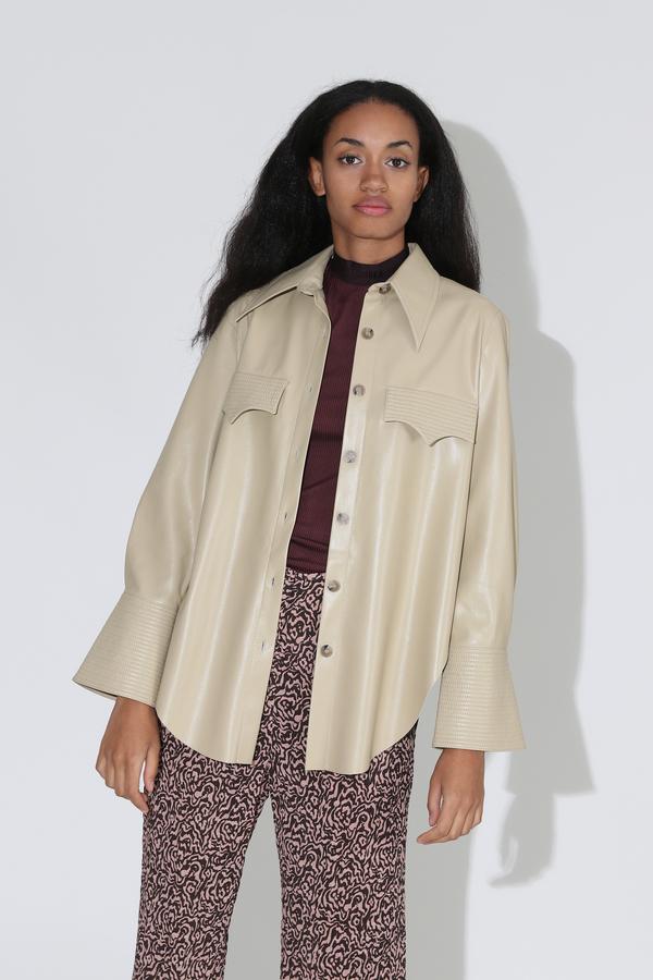 Nanushka Elpi Vegan Leather Quilt Detail Shirt - Wax Yellow