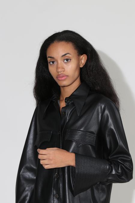 Nanushka Elpi Vegan Leather Quilt Detail Shirt - Black