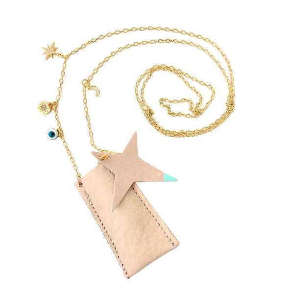 Kids Atsuyo Et Akiko Amulet Crystal Necklace - Natural Leather/Mint Green