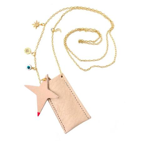 Kids Atsuyo Et Akiko Amulet Crystal Necklace - Natural Leather Pink